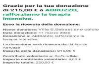 Villa San Sebastiano. Un gesto per aiutare la Sanità abruzzese