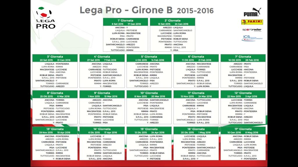 Calendario Lega Pro Girone C.Calendario Girone B Lega Pro