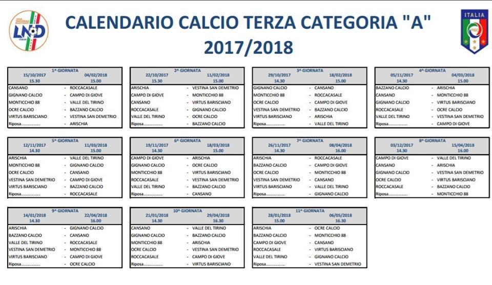 Calendario Terza Categoria.Terza Categoria A Modifica Del Calendario Terza Categoria